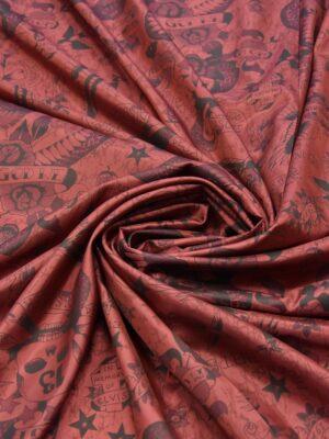 Подкладочная вискоза бордо с черепами змеями орлами (5866) - Фото 10
