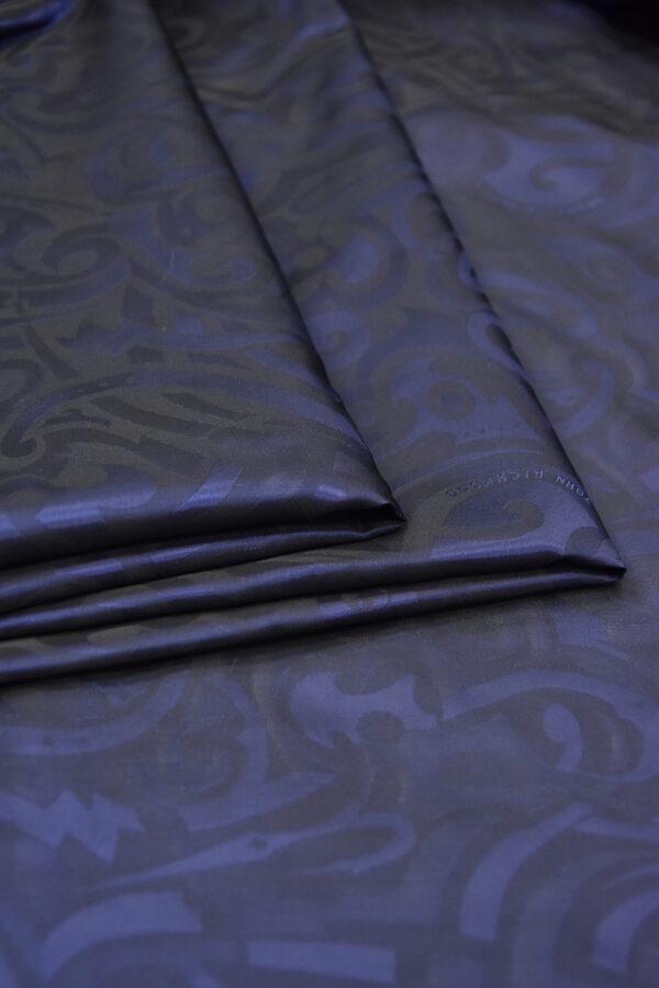 Подкладочная вискоза темно-синяя с завитками и красивым блеском (5872) - Фото 8