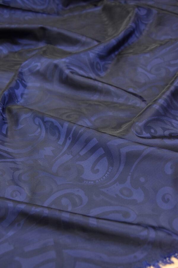 Подкладочная вискоза темно-синяя с завитками и красивым блеском (5872) - Фото 6