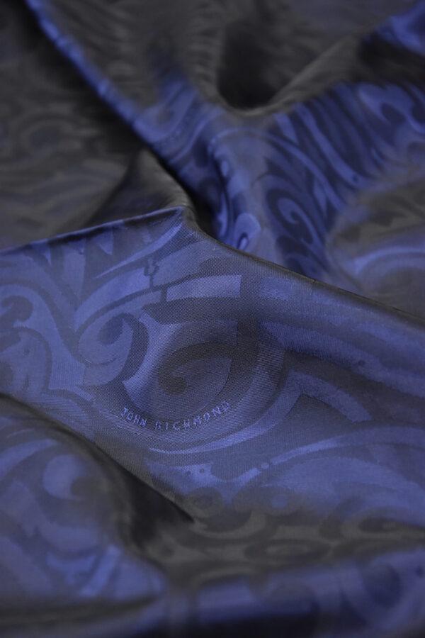 Подкладочная вискоза темно-синяя с завитками и красивым блеском (5872) - Фото 9