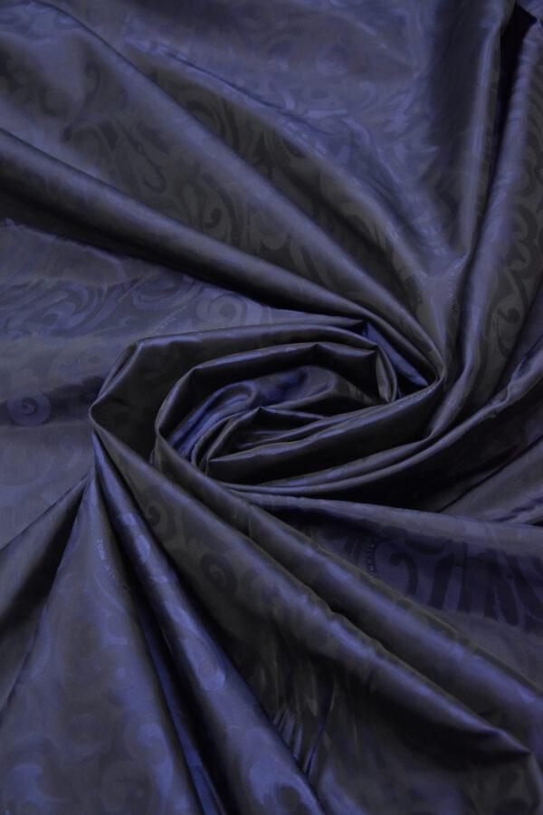 Подкладочная вискоза темно-синяя с завитками и красивым блеском (5872) - Фото 7