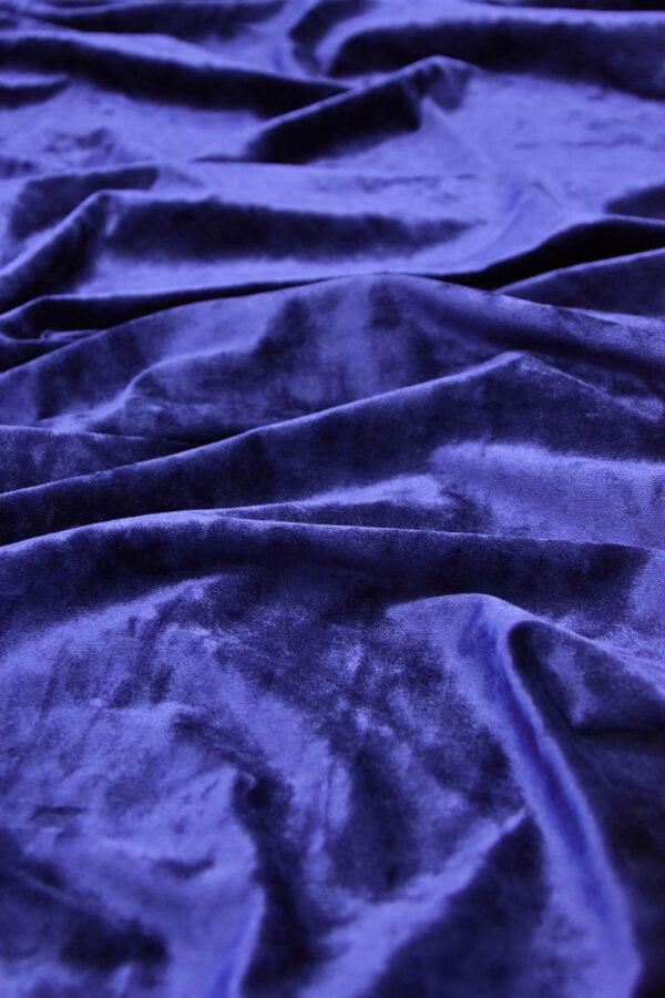 Бархат стрейч синий с блеском (5886) - Фото 6
