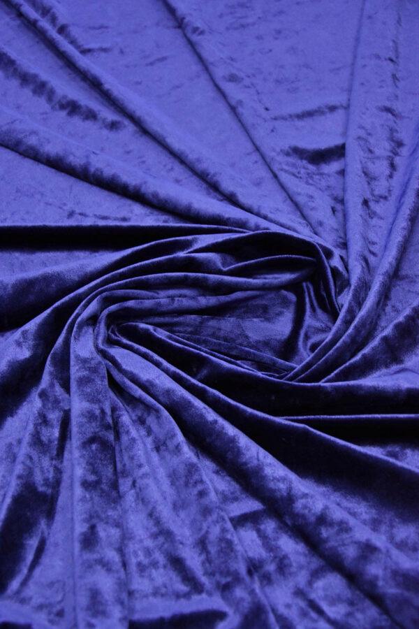 Бархат стрейч синий с блеском (5886) - Фото 7