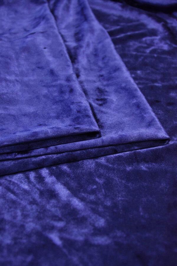 Бархат стрейч синий с блеском (5886) - Фото 9