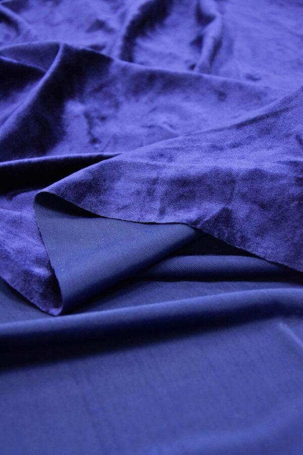Бархат стрейч синий с блеском (5886) - Фото 8