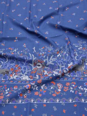 Вискоза синяя фольклорный принт с пейзажем (5910) - Фото 14