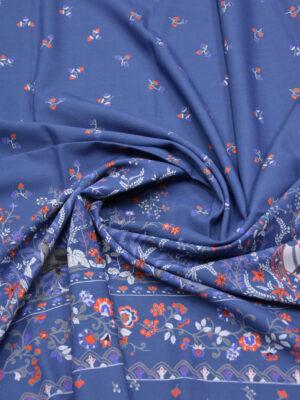 Вискоза синяя фольклорный принт с пейзажем (5910) - Фото 15