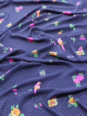 Шелк жаккардовый синий с цветами и мелким горошком (5915) - Фото 11