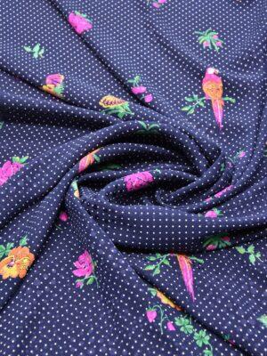 Шелк жаккардовый синий с цветами и мелким горошком (5915) - Фото 12