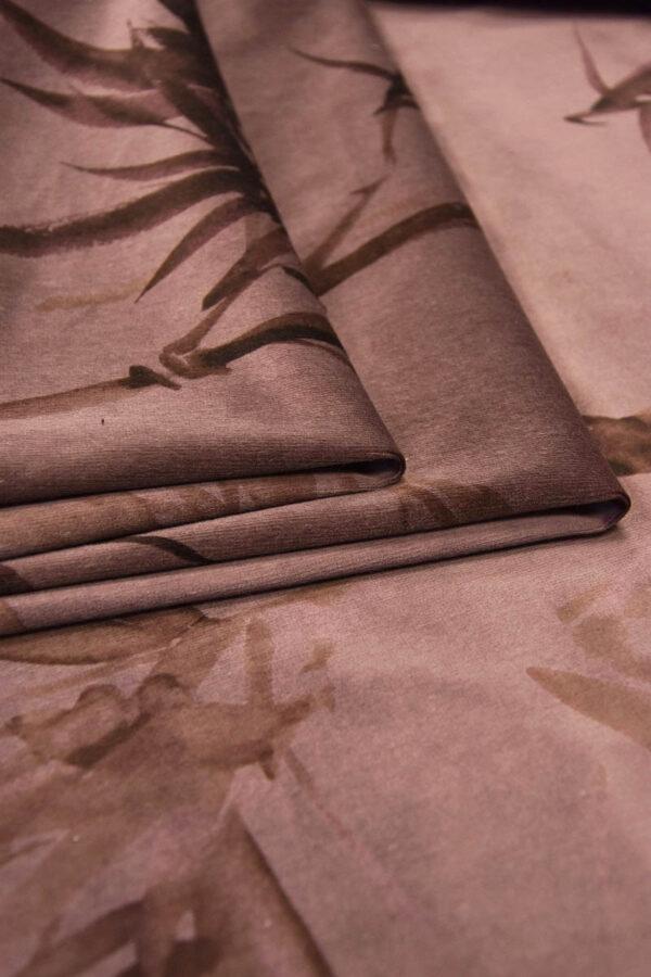 Бархат хлопковый коричнево-розовый стебли бамбука (5935) - Фото 8