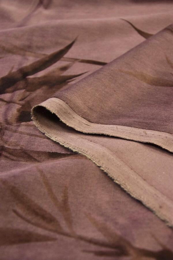 Бархат хлопковый коричнево-розовый стебли бамбука (5935) - Фото 9