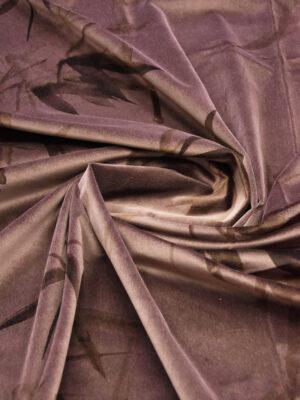 Бархат хлопковый коричнево-розовый стебли бамбука (5935) - Фото 17