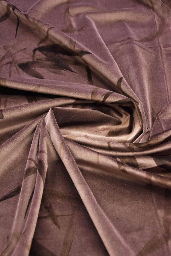 Бархат хлопковый коричнево-розовый стебли бамбука (5935) - Фото 7