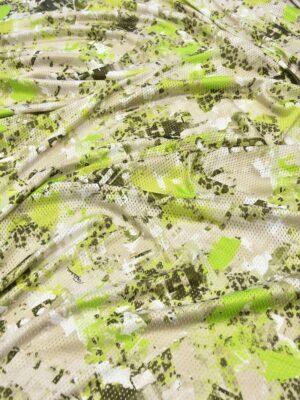 Сетка трикотажная с абстрактным салатовым рисунком (5961) - Фото 13