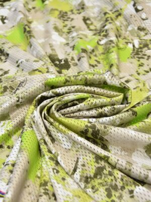Сетка трикотажная с абстрактным салатовым рисунком (5961) - Фото 14