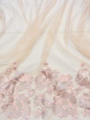 Вышивка на сетке пудровая с каймой из цветов (6040) - Фото 16