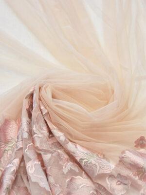 Вышивка на сетке пудровая с каймой из цветов (6040) - Фото 17