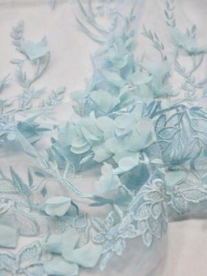 Кружево 3D вышивка на сетке бледно-голубая с цветами (6053) - Фото 13