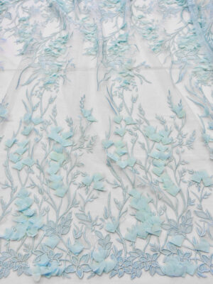 Кружево 3D вышивка на сетке бледно-голубая с цветами (6053) - Фото 12