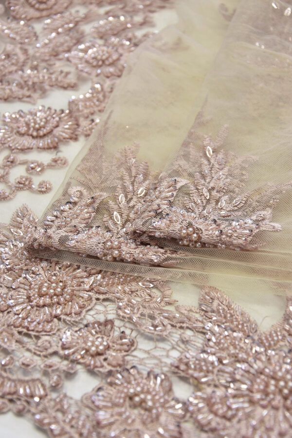 Кружево бежевое с вышивкой пайетками и стеклярусом (6057) - Фото 8