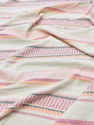 Рогожка молочная в розовую и оранжевую полоску (6069) - Фото 12