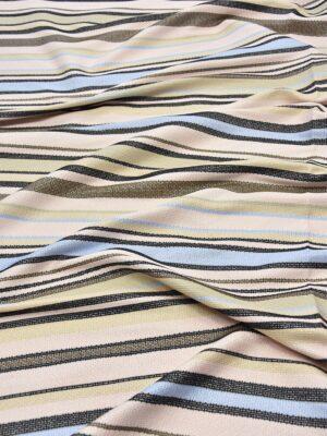 Рогожка в бежевую голубую и черную полоску (6070) - Фото 9