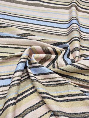 Рогожка в бежевую голубую и черную полоску (6070) - Фото 10