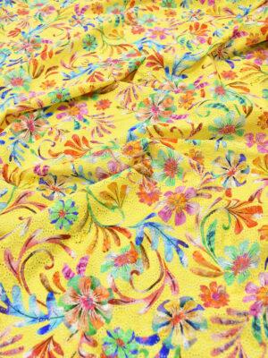 Шитье хлопок желтый с цветами (6075) - Фото 14