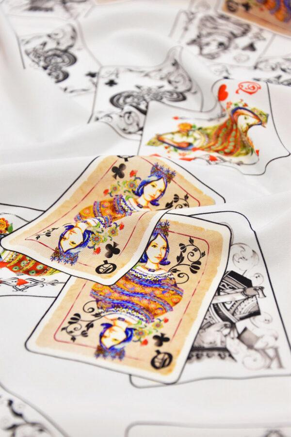 Шелковый креп стрейч белый с картами (6083) - Фото 9