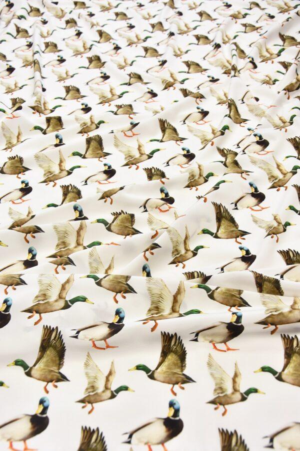 Шелковый креп стрейч утки на белом (6084) - Фото 6