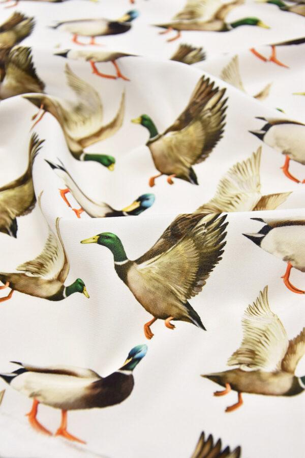 Шелковый креп стрейч утки на белом (6084) - Фото 10