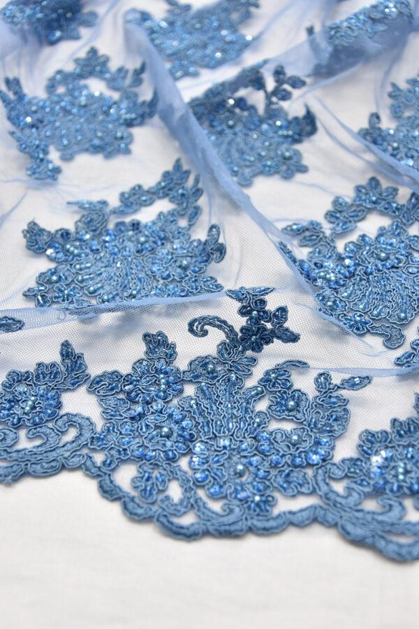 Кружево сутажное темно-голубое с цветочным узором (6154) - Фото 9