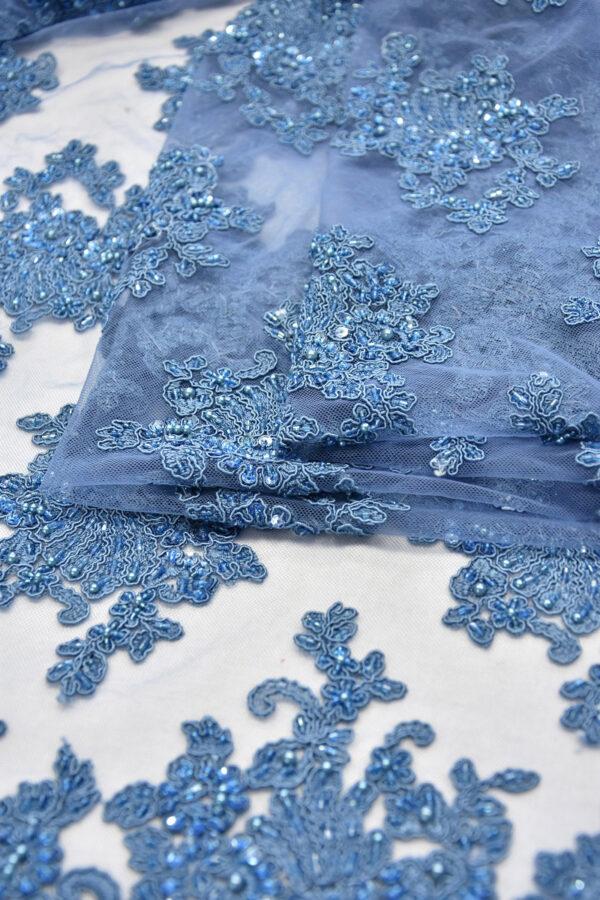 Кружево сутажное темно-голубое с цветочным узором (6154) - Фото 8