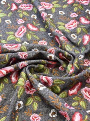 Лоден с вышивкой яркие цветы на сером (6188) - Фото 16