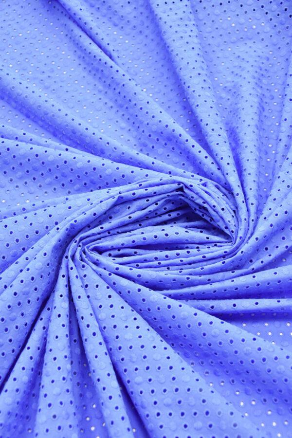 Шитье хлопок с вышивкой васильковый в горошек (6227) - Фото 7