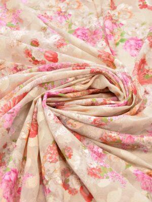 Батист вышивка филькупе кремовый с цветами (6272) - Фото 16