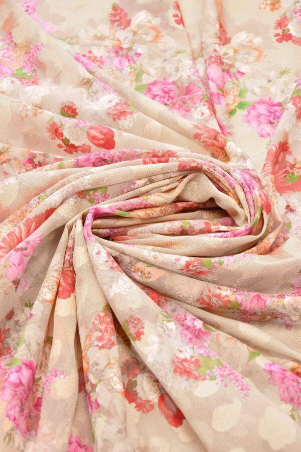 Батист вышивка филькупе кремовый с цветами (6272) - Фото 7