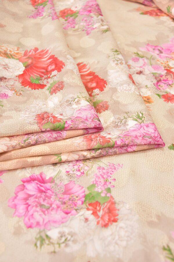 Батист вышивка филькупе кремовый с цветами (6272) - Фото 9