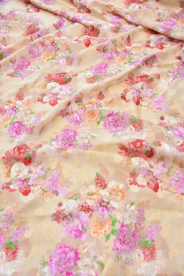 Батист вышивка филькупе кремовый с цветами (6272) - Фото 6