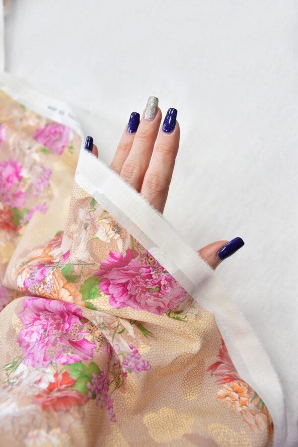 Батист вышивка филькупе кремовый с цветами (6272) - Фото 10