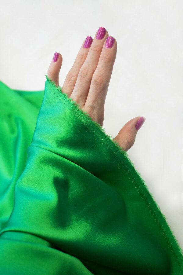 Шелк стрейч атласный зеленый (6314) - Фото 9