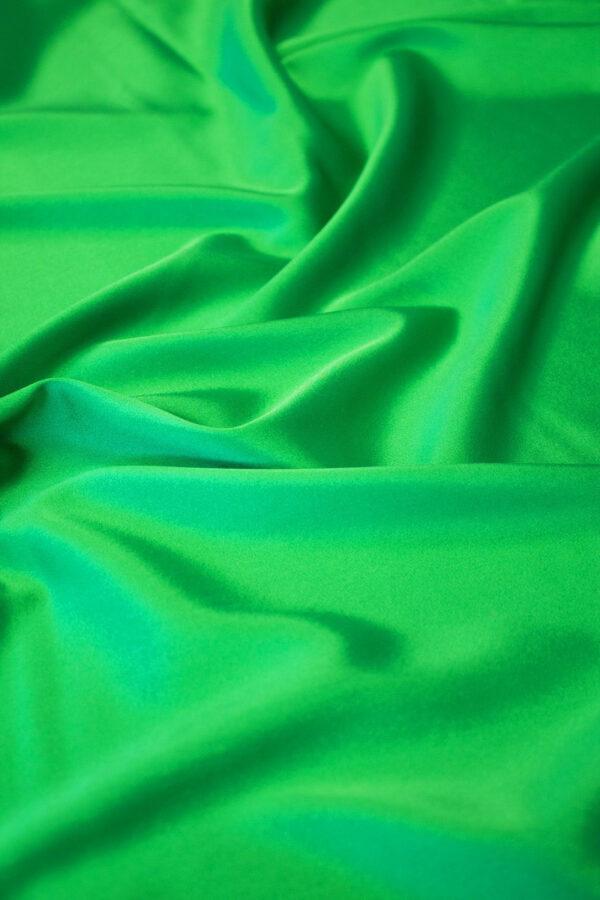 Шелк стрейч атласный зеленый (6314) - Фото 6