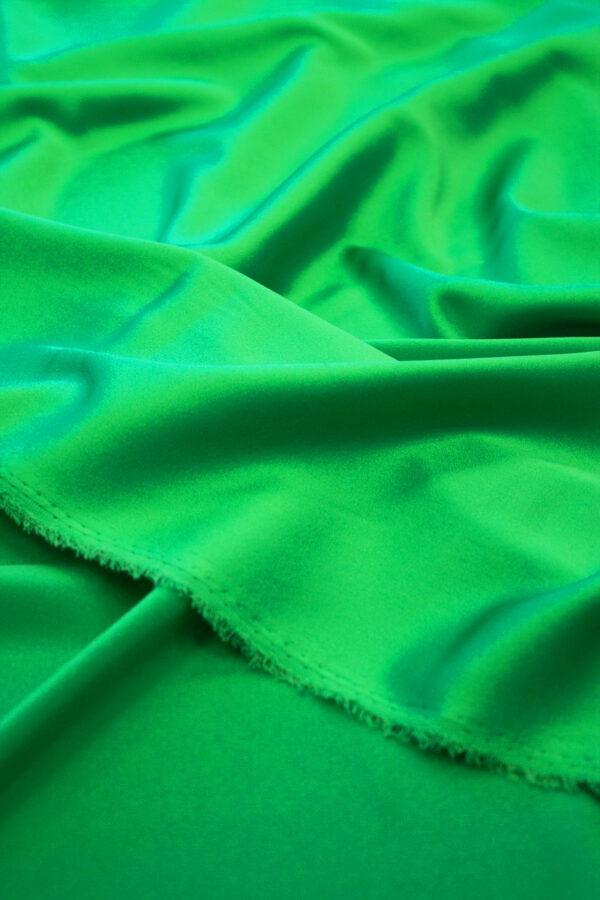 Шелк стрейч атласный зеленый (6314) - Фото 10