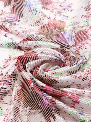 Органза в полоску с красными цветами (6330) - Фото 14