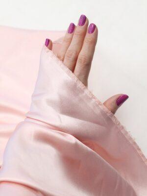 Шелк стрейч розовый зефир атласный (6333) - Фото 11