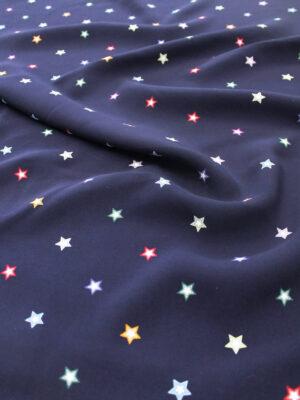 Креп вискоза звезды на темно-синем (6339) - Фото 13