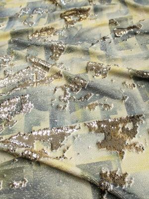 Пайетки двухсторонние оливка/золото с абстракцией (6351) - Фото 11
