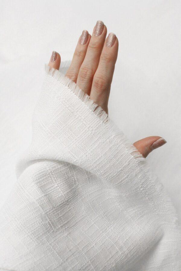 Рогожка летняя белая фактурная (6390) - Фото 10