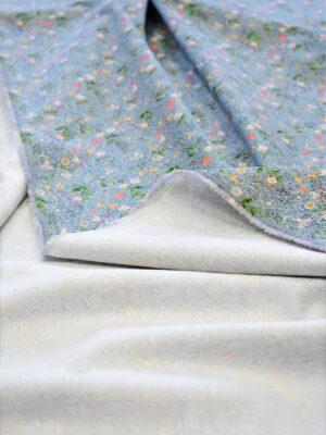 Матлассе стрейч голубой в мелкий цветочек c вышивкой (6406) - Фото 20
