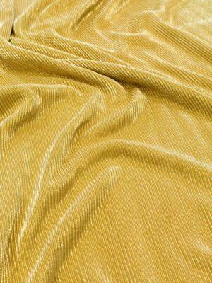 Трикотаж плиссе золотого оттенка с глиттером (6421) - Фото 9